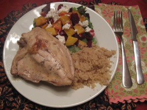 chicken, couscous and beet salad